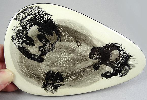 carreau en terre cuite émaillée illustration originale encre de chine
