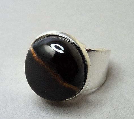 Bague ronde argenté noir gris jaune, bague réglable en céramique