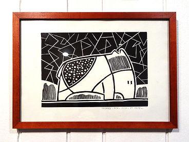 linogravure animal bestiaire noir blanc design Edwige Tarchi Lyon