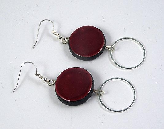 Grandes boucles rondes prune grenat ou brun pampilles anneaux