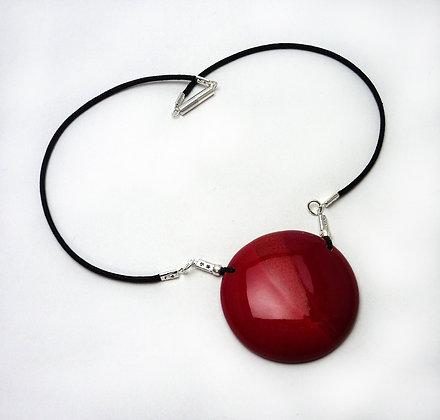 médaillon rond rouge collier chic femme bijou céramique créateur