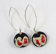 Boucles d'oreilles rondes rouge noir blanc en céramique matiérée
