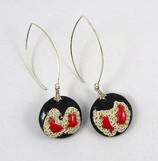 boucles d'oreille rouge noir blanc chic design ceramique longues