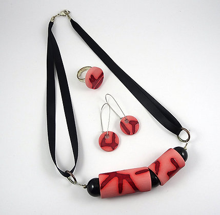 Ensemble parure collier bague boucles rouge rose pour femme bijou design contemporain