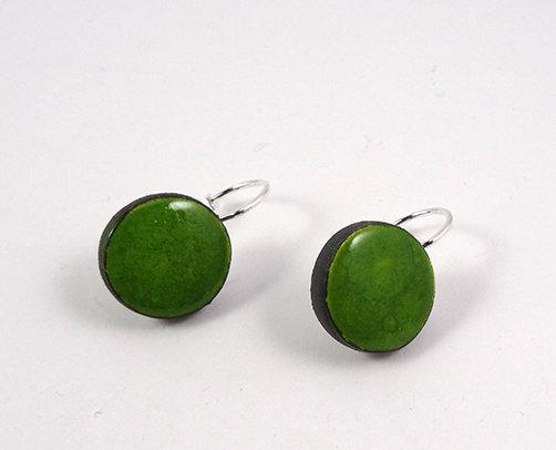 petites boucles d'oreilles rondes bleu turquoise vert pour femme