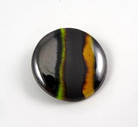 broche ronde chic argenté jaune vert noir rayures bijou contemporain céramique