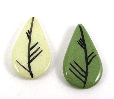 Fèves en céramique pour galette des rois motif feuilles vertes