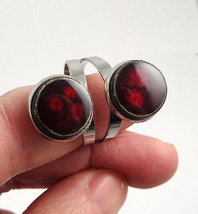 Bague double en céramique rouge bordeaux pois anneau argenté réglable