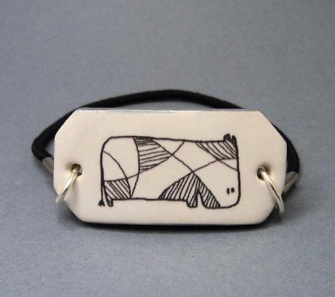 bracelet de créateur noir et blanc motif animal en céramique