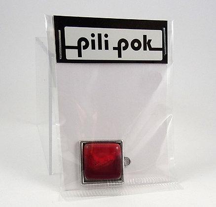 sachet cadeau pendentif perle carré rouge et métal argenté