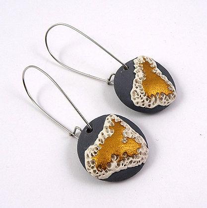 boucles d'oreilles design contemporain gris or blanc céramique