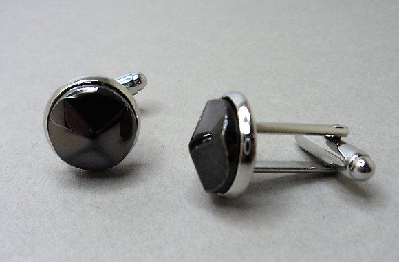 boutons de manchette chics en céramique taillée façon diamant noir