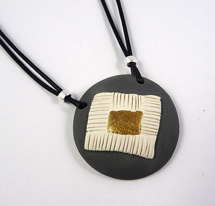 collier rond céramique brute gris mat et or collier cadeau femme