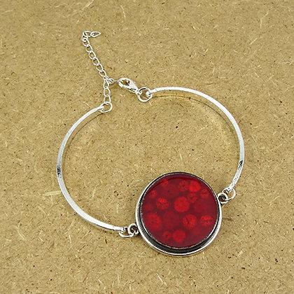 bracelet chic rouge rond pois framboise jonc métal argenté design céramique