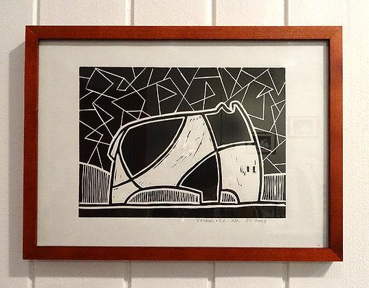 tableau linogravure originale dessin animal vache elephant noir blanc