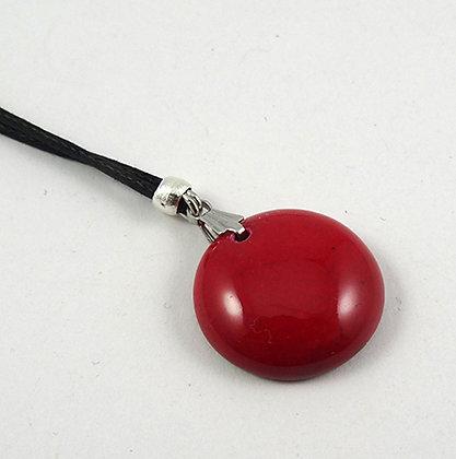 petit collier pendentif rond rouge bijou céramique design créateur