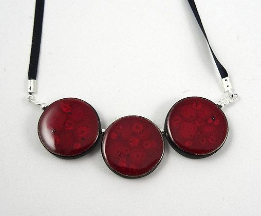 collier 3 perles rondes rouge pois grenat bijou céramique design pour femme