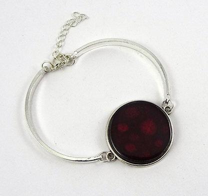 bracelet rouge grenat bordeaux jonc métal argenté bijou céramique