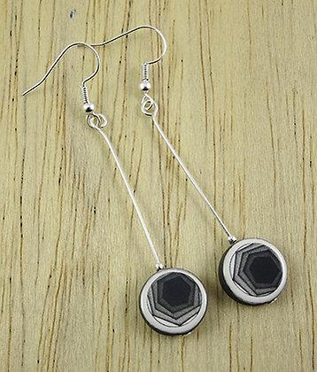 boucles d'oreilles en céramique motif noir et blanc hexagone pour femme