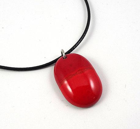 pendentif rouge ovale collier pour femme en ceramique brillante