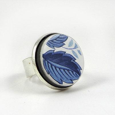 bague bleue à motifs floraux vintage bague ronde en céramique