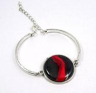 Grand bracelet jonc rouge noir argenté en céramique