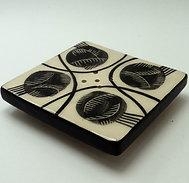 Porte-savon graphique vintage noir blanc en céramique