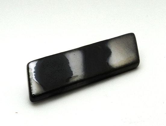 broche rectangle en céramique design métal argent bijou créateur