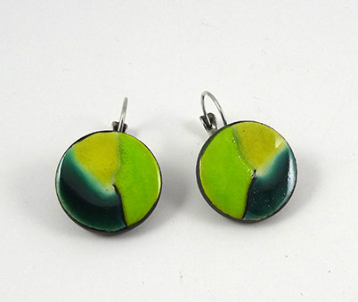 boucles d'oreilles rond jaune vert émeraude bijou design coloré céramique femme