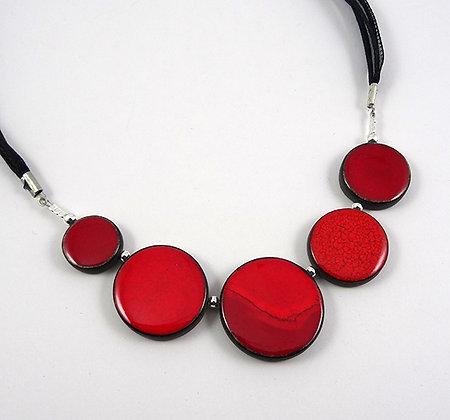 gros collier rouge chic perles rondes pour femme en ceramique