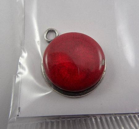 petit pendentif rouge rond en céramique sertie sur métal argenté