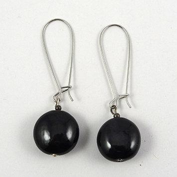 boucles d'oreilles noir rond crochet argenté perle céramique