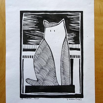 Linogravure chat matou impression atisanale dessin original