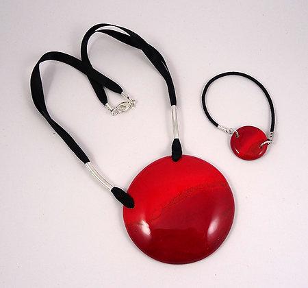 parure collier rond rouge cadeau chic pour femme bijou ceramique