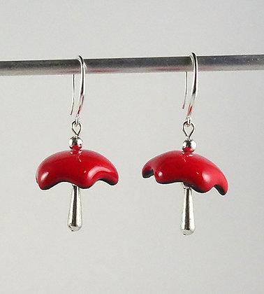 boucles d'oreilles rouge parapluies coquillages fleurs étoiles pampilles argent