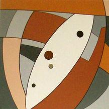 peinture abstraite art deco graphique orange acrylique ceramique