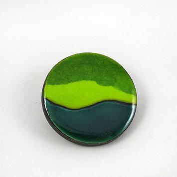 broche ronde rayures vert pomme émeraude bijou design céramique