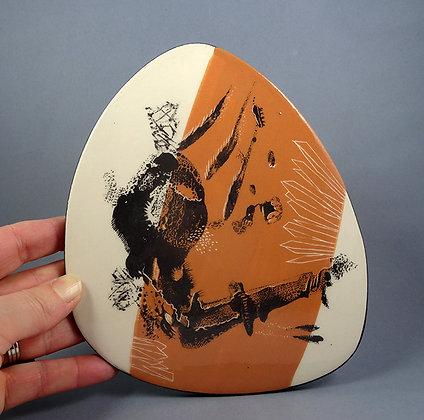 carreau déco illustré orange et noir forme vintage dessin encre de chine