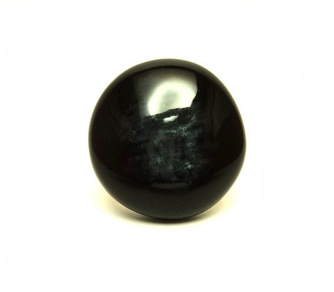 Grande bague ronde noire en céramique émaillée, bague réglable