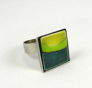bague carré vert pomme émeraude jaune citron bijou céramique