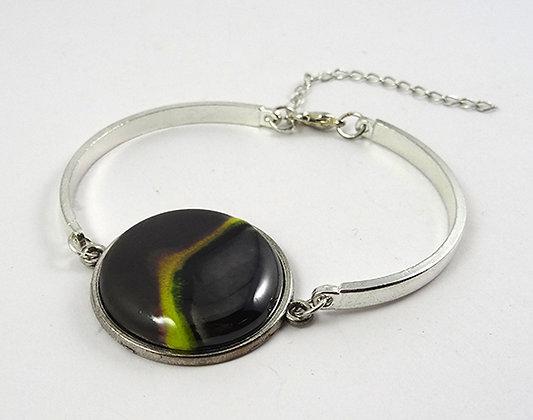 bracelet rond argenté noir vert jonc perle céramique ronde