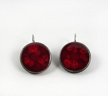 boucles d'oreilles rouge rondes pour femme cadeau passion
