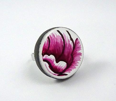bague ronde motif floral rose blanc noir vintage créateur céramique