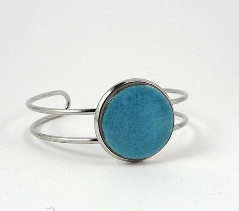 grand bracelet jon bleu clair métal argenté réglable perle ronde céramique