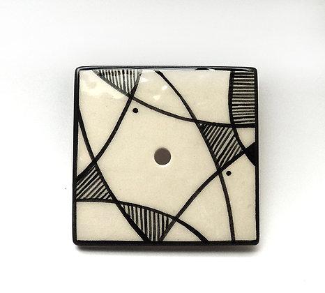porte-savon design années 50 en noir et blanc