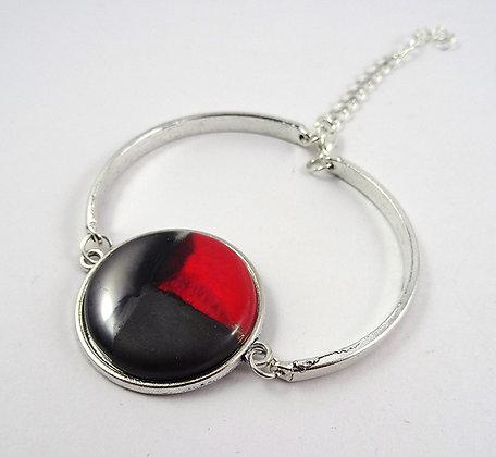 Grand bracelet en céramique rond rouge argenté noir jonc argenté