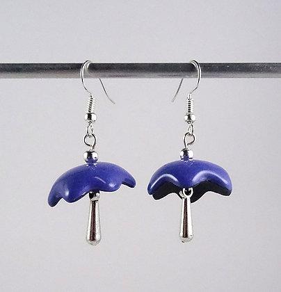 boucles d'oreilles parapluies coquillages bleu avec pampille argent