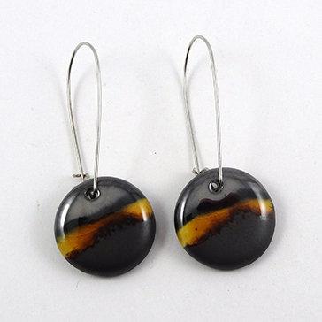 boucles d'oreilles rondes jaune noir argenté métal bijou céramique créateur