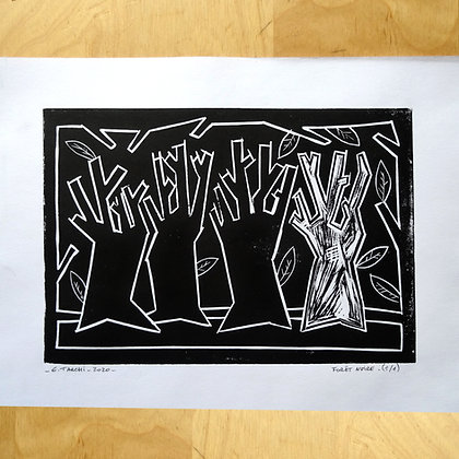 linogravure dessin encre foret arbres nature noir et blanc impression artisanale