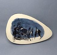Petit sous-plat ovale illustré graphique bleu en céramique